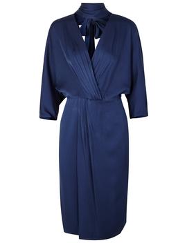 Navy Wrap Effect Satin Dress by Diane Von Furstenberg