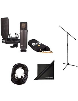 Rode Nt1 Cardioid Condenser Microphone Bundle With Mic Stand, Mic Cable, Smr Shock Mount, Pop Filter, And Polishing Cloth by Rode