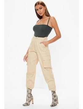 Tall Tan Plain Cargo Trousers by Missguided