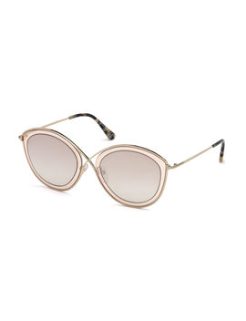 Sacha 02 Crossover Nose Round Metal Sunglasses by Tom Ford