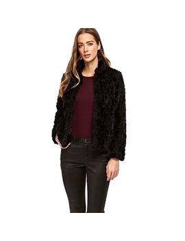 Wallis   Petite Black Faux Fur Coat by Wallis