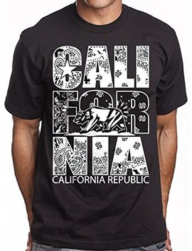 Mens Black California Republic White Bandana Print T Shirt by Cali Design
