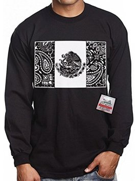 Long Sleeve Mexican Bandana Flag Cali Urban Wear T Shirt Mexico Chicano Mex by Cali Design