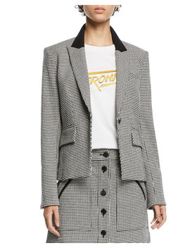 Airlie Houndstooth Peplum Dickey Jacket by Veronica Beard