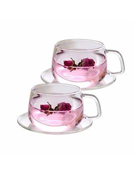 Tosnail 11 Oz. Clear Glass Tea Cup Coffee Mug With Clear Glass Saucer, Set Of 2 by Tosnail