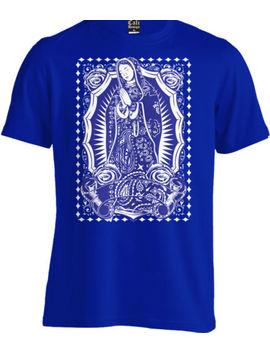 Virgin Mary Blue Bandana Print T Shirt Mexican Cholo Chicano Tattoo La Art Tee by Cali Design