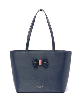 Bowmisa Bow Detail Small Leather Shopper Bag by Ted Baker London