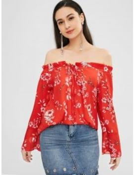 Flower Off Shoulder Flare Sleeve Blouse   Red 2xl by Zaful
