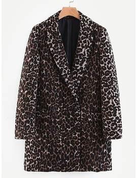 Leopard Print Flap Pocket Coat by Sheinside