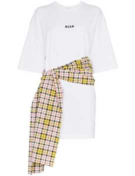 Check Tie Waist T Shirt by Msgm