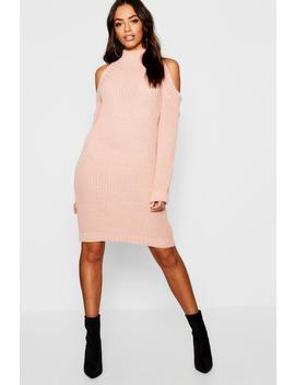 Cold Shoulder Knitted Dress by Boohoo