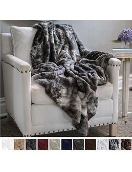 """The Connecticut Home Company Original Luxury Faux Fur Throw Blanket, Soft, Large Plush Reversible Blankets, Warm & Hypoallergenic Throws For Couch Or Bed, Washable, Microfiber 65"""" X 50"""" (Gray Fur) by The Connecticut Home Company"""