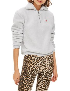 Borg Heart Quarter Zip Pullover by Topshop