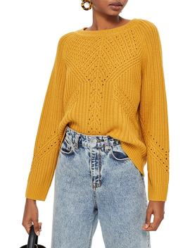 Rib & Pointelle Stitch Sweater by Topshop