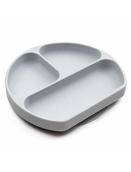 Bumkins Silicone Grip Dish, Suction Plate, Divided Plate, Baby Toddler Plate, Bpa Free, Microwave Dishwasher Safe – Gray by Bumkins