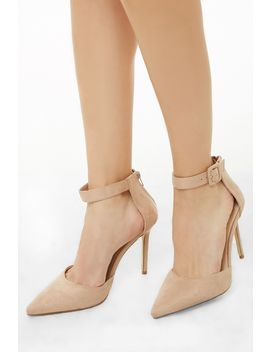 Pointed Toe Faux Suede Heels by Forever 21