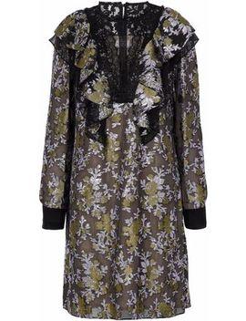 Lace Paneled Ruffled Brocade Dress by Lanvin