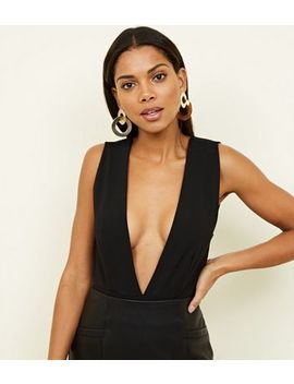 Black Deep Plunge Neck Bodysuit by New Look