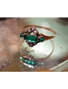 Victorian 10 K Gold Ring Seed Pearls And Paste Emeralds 1880s Sz 7.45 by Etsy