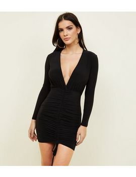 Black Ruched Front Slinky Bodycon Dress by New Look
