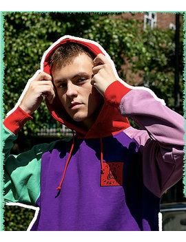 Teddy Fresh Colorblock Purple Hoodie by Teddy Fresh Inc