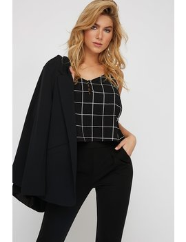 Checkered Button Up Camisole Blouse by Urban Planet