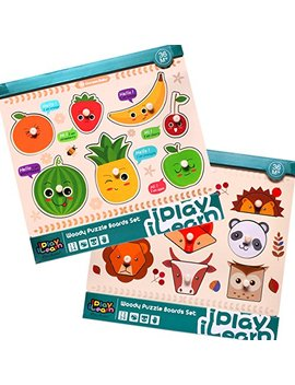 I Play, I Learn Kids Wooden Peg Puzzles Play Set, Fruit Animals Shapes Knob Board, Learning Jigsaw, Preschool Gift, Educational, Developmental Toys For 1, 2, 3, 4 Year Olds Toddlers, Baby, Boys, Girls by I Play, I Learn