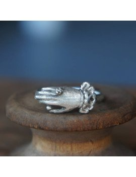 Solid Silver Antique Ladies Cuffed Hand Georgian Style Ring by Etsy