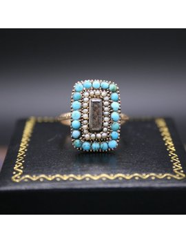 Late Georgian/Early Victorian Turquoise And Seed Pearl Memento Ring by Etsy