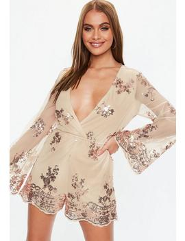 Rose Gold Sequin Flared Sleeve Romper by Missguided
