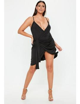 Plus Size Black Wrap Cami Dress by Missguided