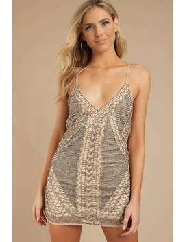 Bead Me To It Taupe Dress by Tobi