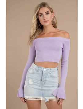 Lost In Your Light Lavender Off Shoulder Sweater by Tobi