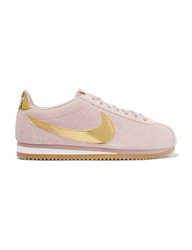 Cortez Se Suede And Metallic Patent Leather Sneakers by Nike