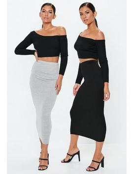 Grey And Black 2 Pack Jersey Midaxi Skirts by Missguided
