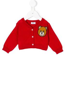 Teddy Bear Embroidered Cardigan by Moschino Kids