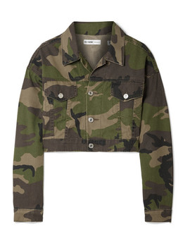 Cropped Camouflage Print Denim Jacket by Re/Done
