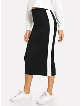 Contrast Sideseam Split Back Pencil Skirt by Shein