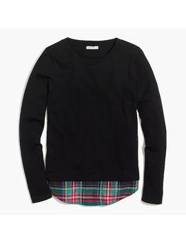 Flannel Woven Hem Sweater by J.Crew