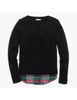 Flannel Woven Hem Sweater by J.Crew