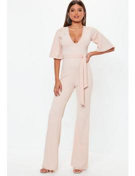Pink Plunge Kimono Jumpsuit by Missguided