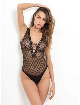 Lace Up V Plunge Teddy Bodysuit by Romwe
