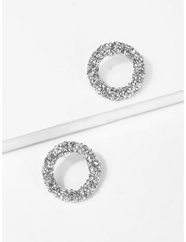 Glitter Hoop Stud Earrings by Sheinside