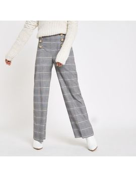 Petite Grey Check Wide Leg Trousers by River Island