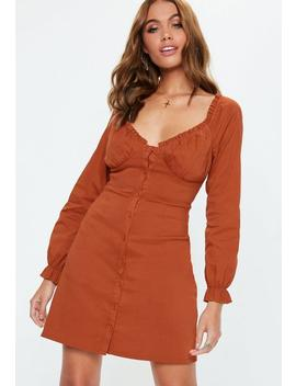 Rust Button Down Frill Dress by Missguided