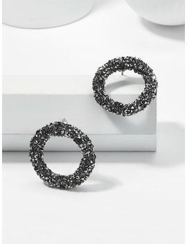 Glitter Design Hoop Earrings by Sheinside