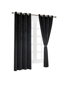 Cherry Home Set Of 2 Velvet Flannel Room Darkening Blackout Curtains Panels Drapes Grommet 52 Wide By 108 Long Black For Living Room by Cherry Home