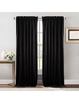 Nicetown Bedroom Velvet Blackout Curtain Panels   Solid Heavy Matt Rod Pocket Drapes/Window Treatments (2 Pieces, 96 Inch Long, Black) by Nicetown