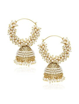 You Bella Ethnic Jewelry Bollywood Traditional Indian Pearl Jhumki Earrings For Women And Girls by You Bella