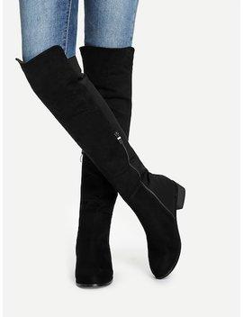 Knee Length Plain Boots by Sheinside
